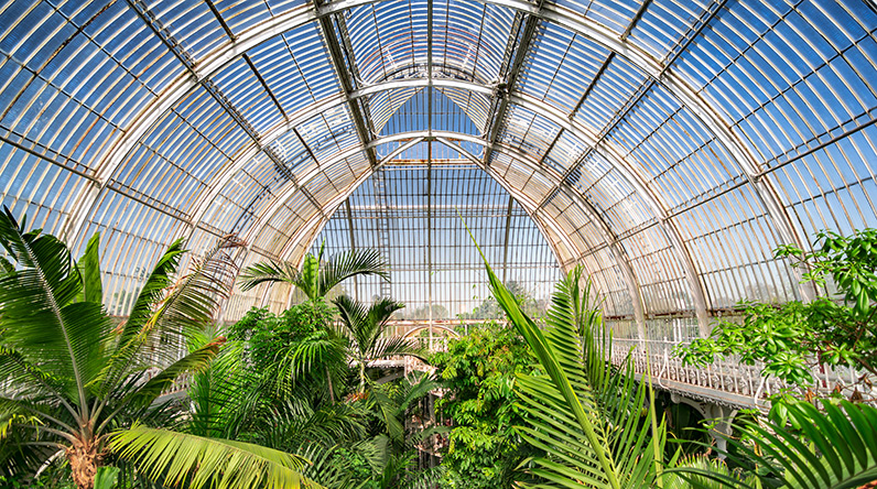 conservatory of plants at kew gardens london